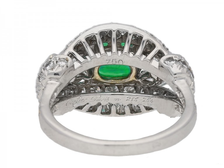 back view  Emerald and diamond cluster ring by Cartier Paris,circa 1970 hatton garden berganza