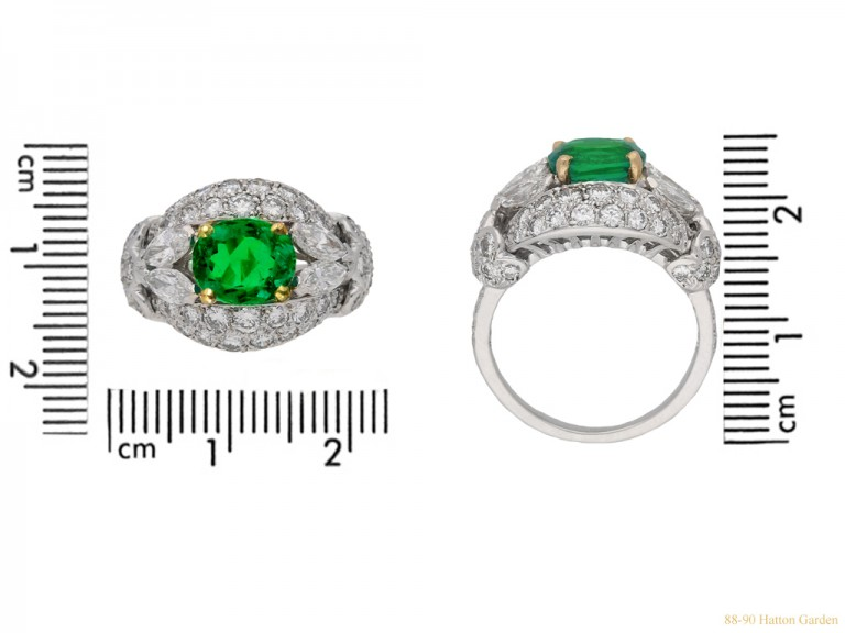 size view  Emerald and diamond cluster ring by Cartier Paris,circa 1970 hatton garden berganza