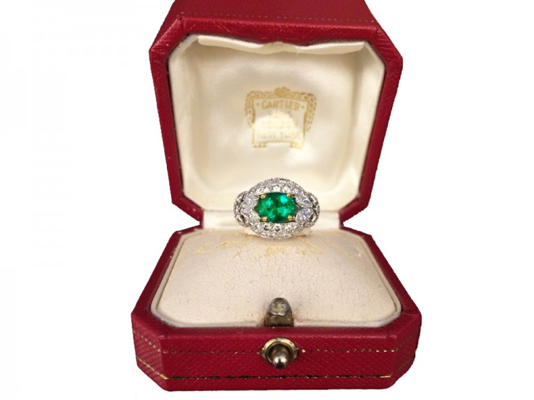 boxed view  Emerald and diamond cluster ring by Cartier Paris,circa 1970 hatton garden berganza