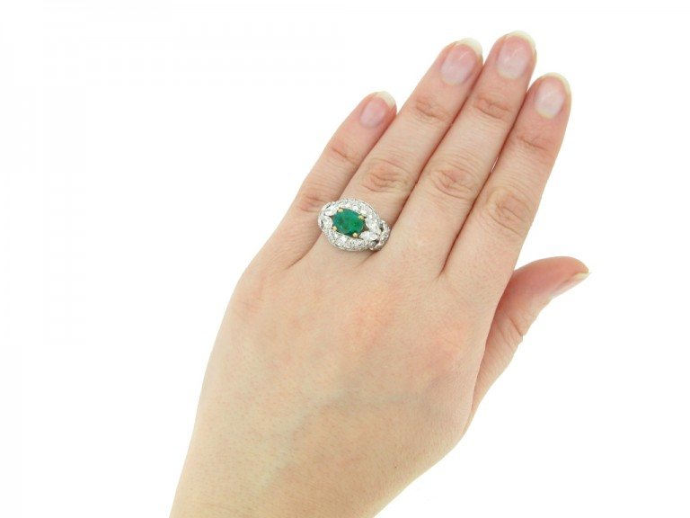 hand view  Emerald and diamond cluster ring by Cartier Paris,circa 1970 hatton garden berganza