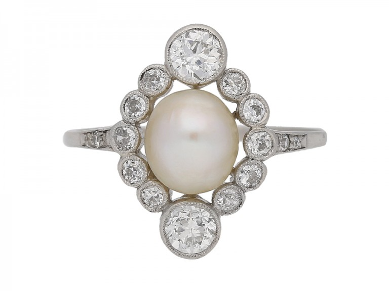 front view Antique pearl diamond ring berganza hatton garden