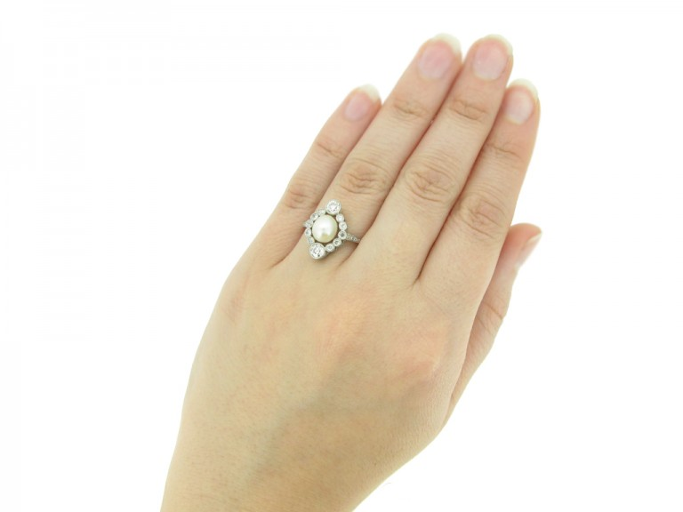 Antique pearl diamond ring berganza hatton garden