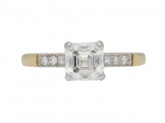 front view Antique Asscher cut diamond ring berganza hatton garden