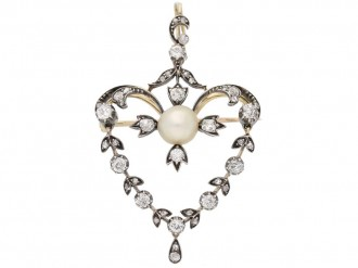 front view Antique natural pearl diamond pendant berganza hatton garden