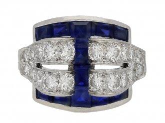 front view sapphire diamond ring Tiffany Co berganza hatton garden