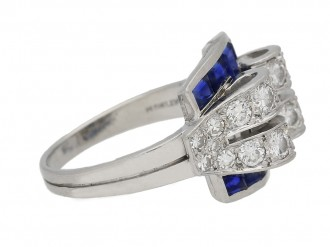 front view sapphire diamond ring Tiffany Co berganza hatton garden
