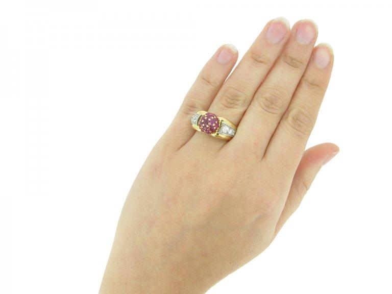 Ruby diamond vintage cocktail ring berganza hatton garden