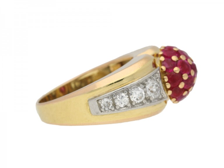 Ruby diamond vintage cocktail ring berganza hatton garden
