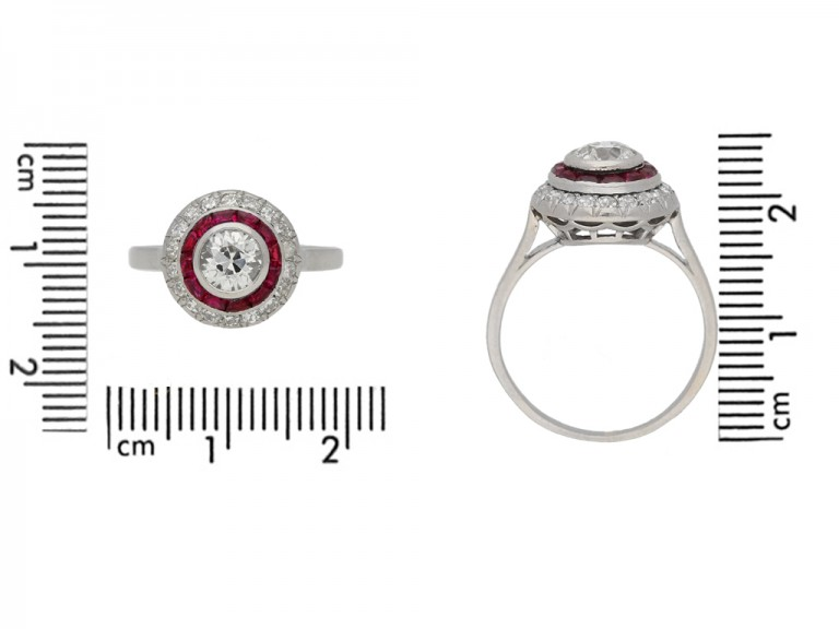 Antique diamond ruby target ring berganza hatton garden