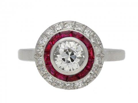 front view Antique diamond ruby target ring berganza hatton garden