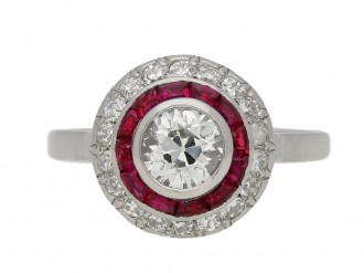 front view Antique diamond ruby target ring berganza hatton garden