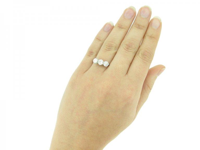 antique Three diamond ring berganza hatton garden