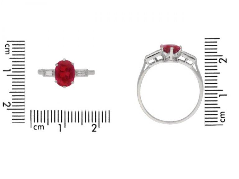 size view   Art Deco Burmese ruby and diamond ring, circa 1930. berganza hatton garden