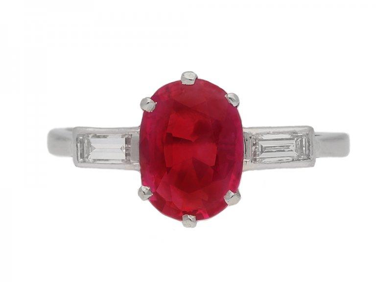 front view   Art Deco Burmese ruby and diamond ring, circa 1930. berganza hatton garden
