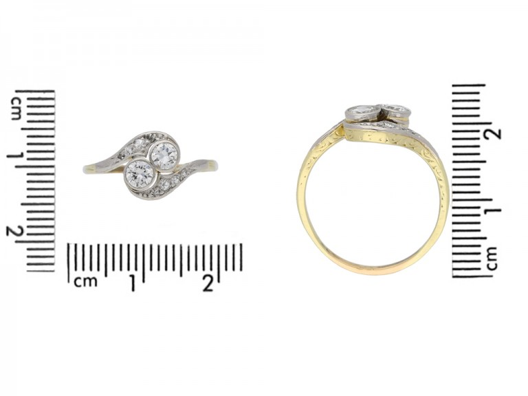 size view  Diamond two stone cross over ring, circa 1935. berganza hatton garden