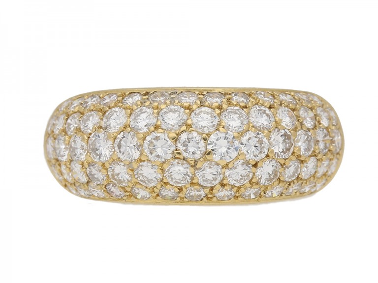 front view Vintage Diamond bombé ring berganza hatton garden