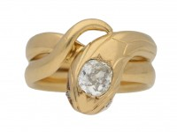 front view Antique diamond snake ring berganza hatton garden