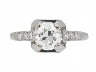 front view  Art Deco diamond ring, French, circa 1930. berganza hatton garden
