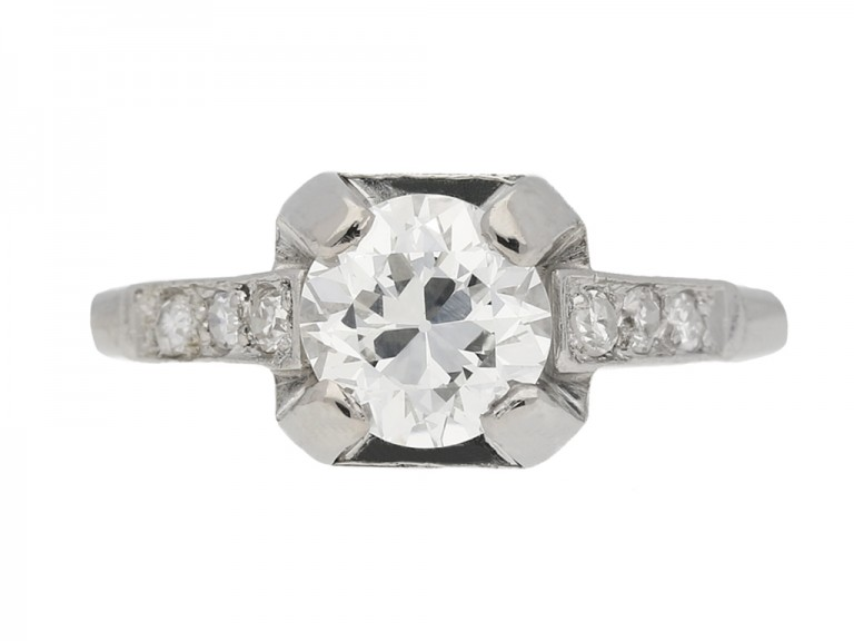 front view  Art Deco diamond ring, French, circa 1930. berganza hatton garden