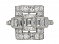 front view Art Deco diamond ring, American, circa 1935. berganza hatton gar