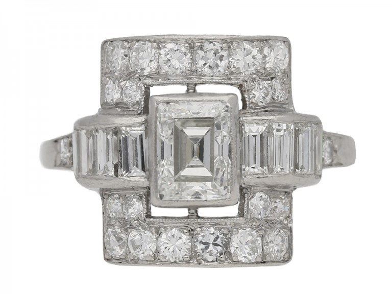 front view Art Deco diamond ring, American, circa 1935. berganza hatton gar