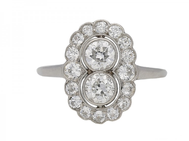 front view Antique diamond cluster ring berganza hatton garden