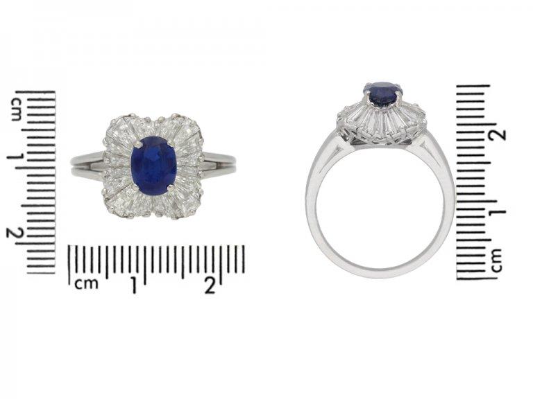 Burmese sapphire and diamond ballerina ring by Oscar Heyman Bros, circa 1970. berganza hatton garden