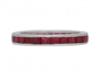 front view Ruby eternity ring by Tiffany & Co, circa 1970. berganza hatton garden