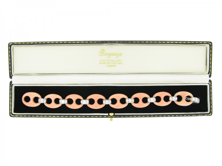 Angel skin coral diamond bracelet berganza hatton garden