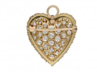 Antique heart shape diamond pendant/brooch hatton garden