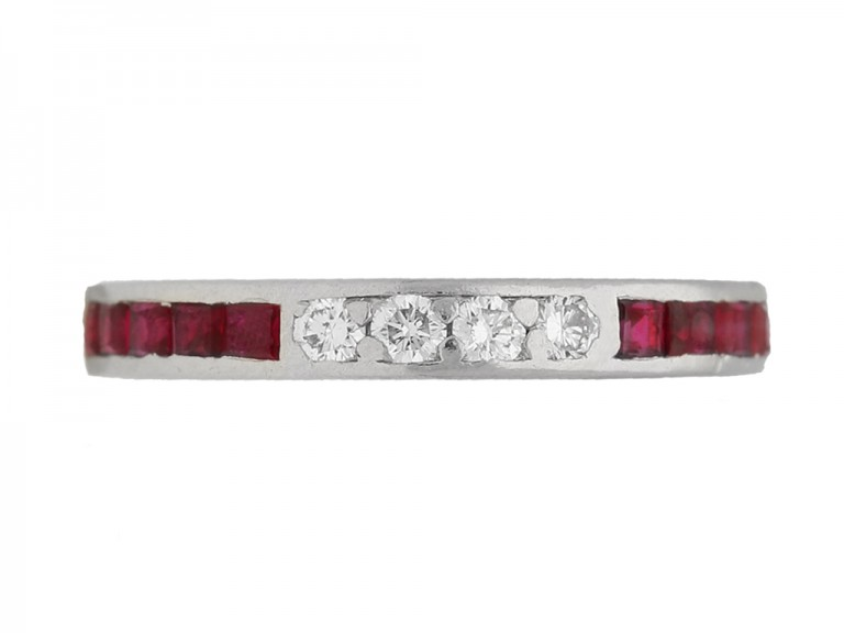 front view Ruby diamond eternity ring by Tiffany & co berganza hatton garden