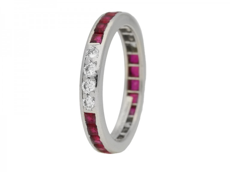 side view Ruby diamond eternity ring by Tiffany & co berganza hatton garden