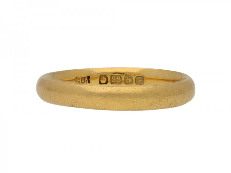 front vintage yellow gold wedding ring berganza hatton garden