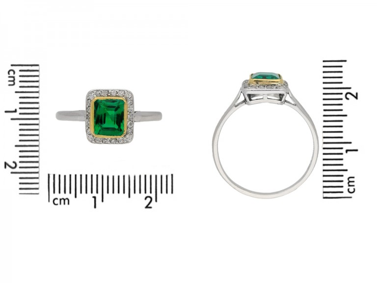 size view  Emerald and diamond cluster ring, circa 1915. berganza hatton garden