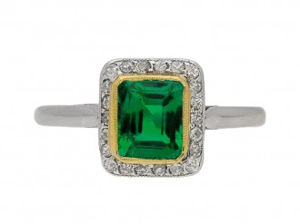 front view  Emerald and diamond cluster ring, circa 1915. berganza hatton garden