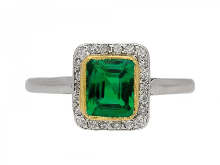 front view  Emerald and diamond cluster ring, circa 1915. berganza hatton garden