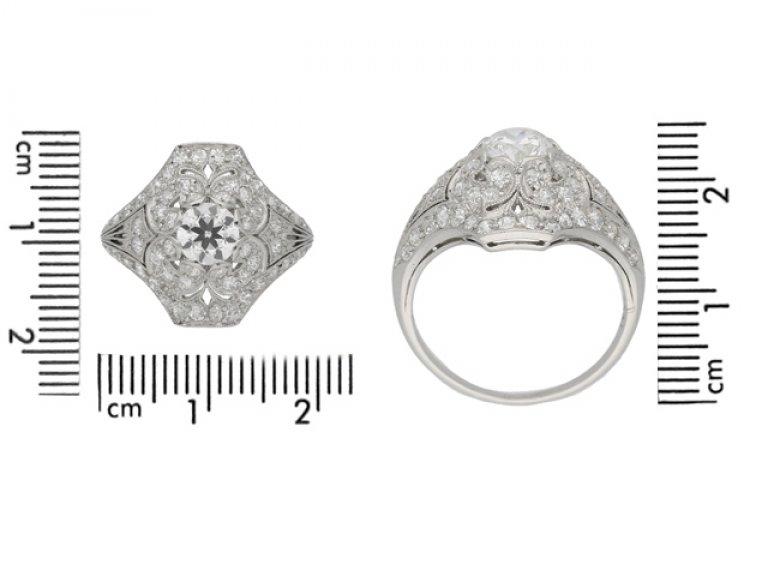 size view Ornate diamond cluster ring, circa 1920. berganza hatton garden