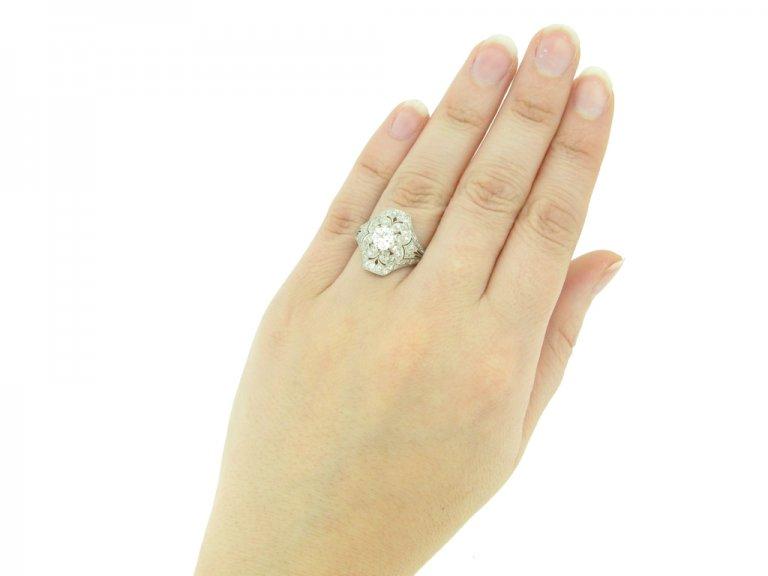 hand view Ornate diamond cluster ring, circa 1920. berganza hatton garden