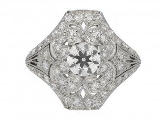 front view Ornate diamond cluster ring, circa 1920. berganza hatton garden