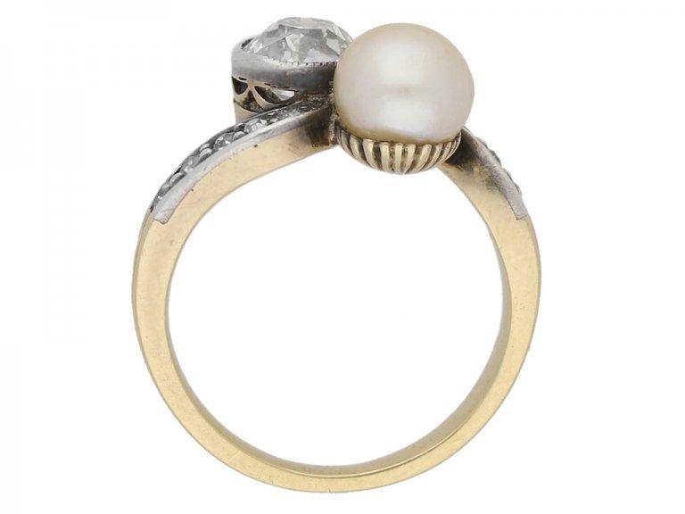 Antique diamond and pearl crossover ring, circa 1890. berganza hatton garden