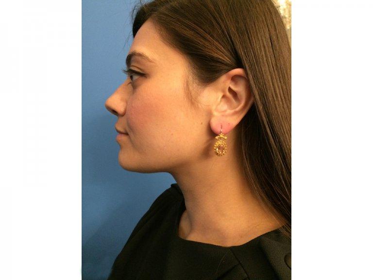 Georgian precious topaz earrings, circa 1820.