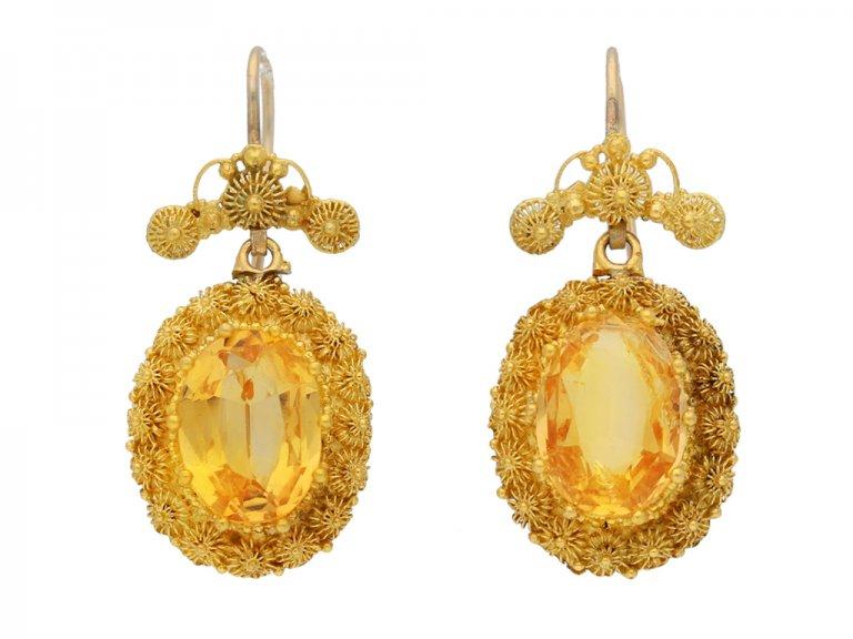 front view Georgian precious topaz earrings, circa 1820.