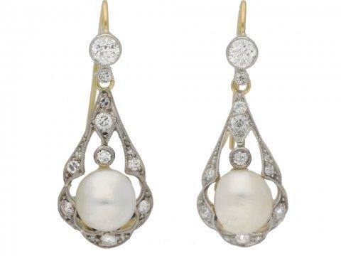 front view   Antique natural pearl and diamond earrings, circa 1905. berganza hatton garden
