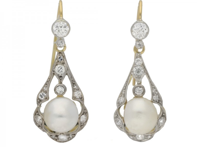 front view   Antique natural pearl and diamond earrings, circa 1905. berganza hatton garden