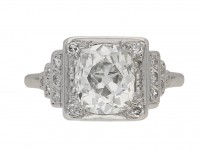 front view Art Deco cushion shape old mine diamond ring, circa 1935. berganza hatton garden