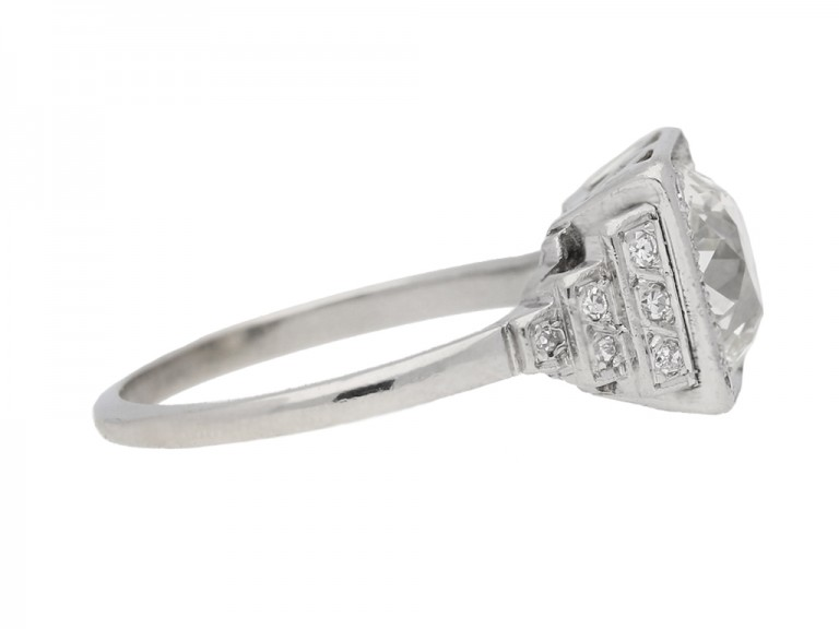 Art Deco cushion shape old mine diamond ring, circa 1935. berganza hatton garden