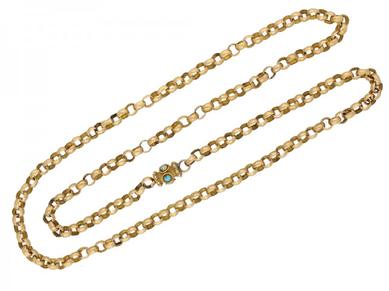 Georgian gold chain with turquoise set clasp, circa 1780 berganza hatton garden