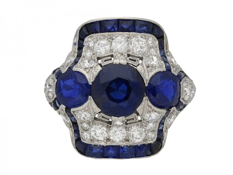 front view Art Deco sapphire diamond ring hatton garden berganza