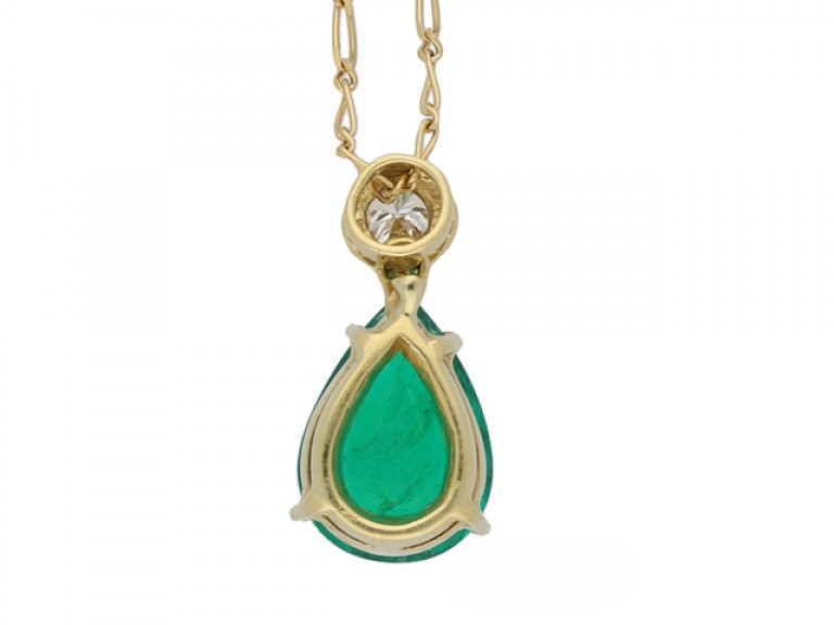 Emerald and diamond pendant, French, circa 1970.