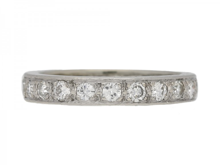 front view  Diamond set eternity ring, French, circa 1960. berganza hatton garden